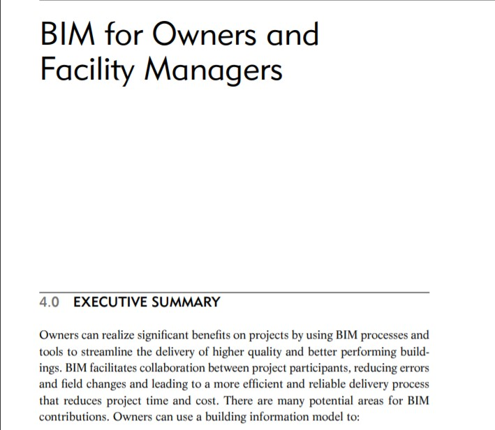 BIM for Owners and Facility Managers PDF